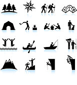 Great outdoors camping and hiking black & white icon set