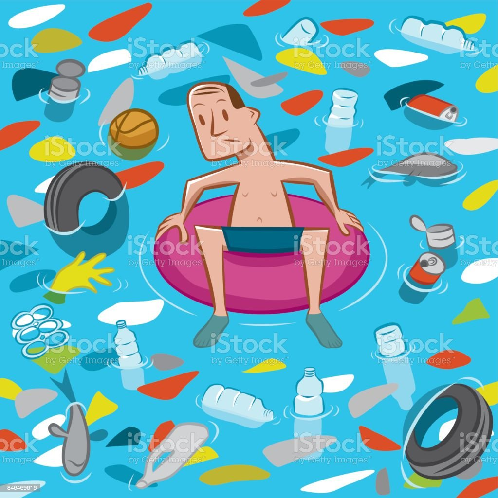 Great Pacific Garbage Patch vector art illustration