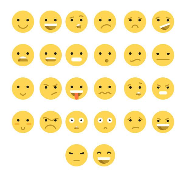 ilustraciones, imágenes clip art, dibujos animados e iconos de stock de excelente juego de 26 amarillo transparente emociones aislado con sombra. - lágrimas de emoji alegre