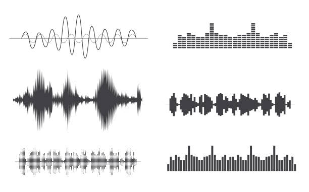 great sound element - sound wave stock illustrations, clip art, cartoons, & icons