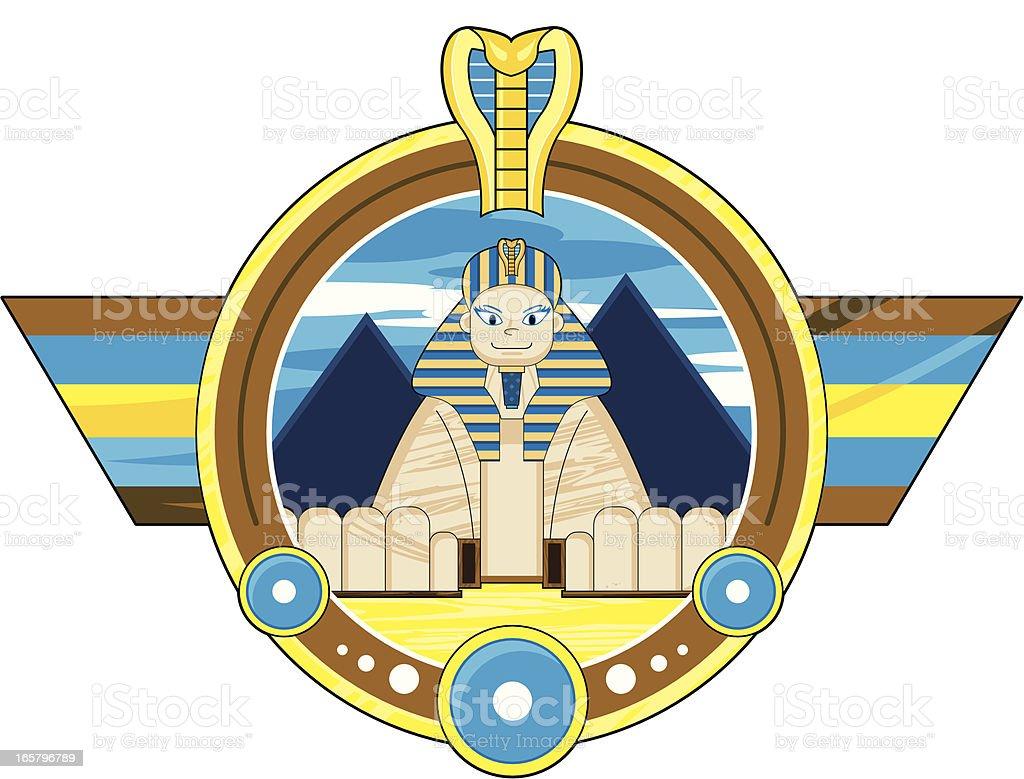 Great Sphinx Badge vector art illustration