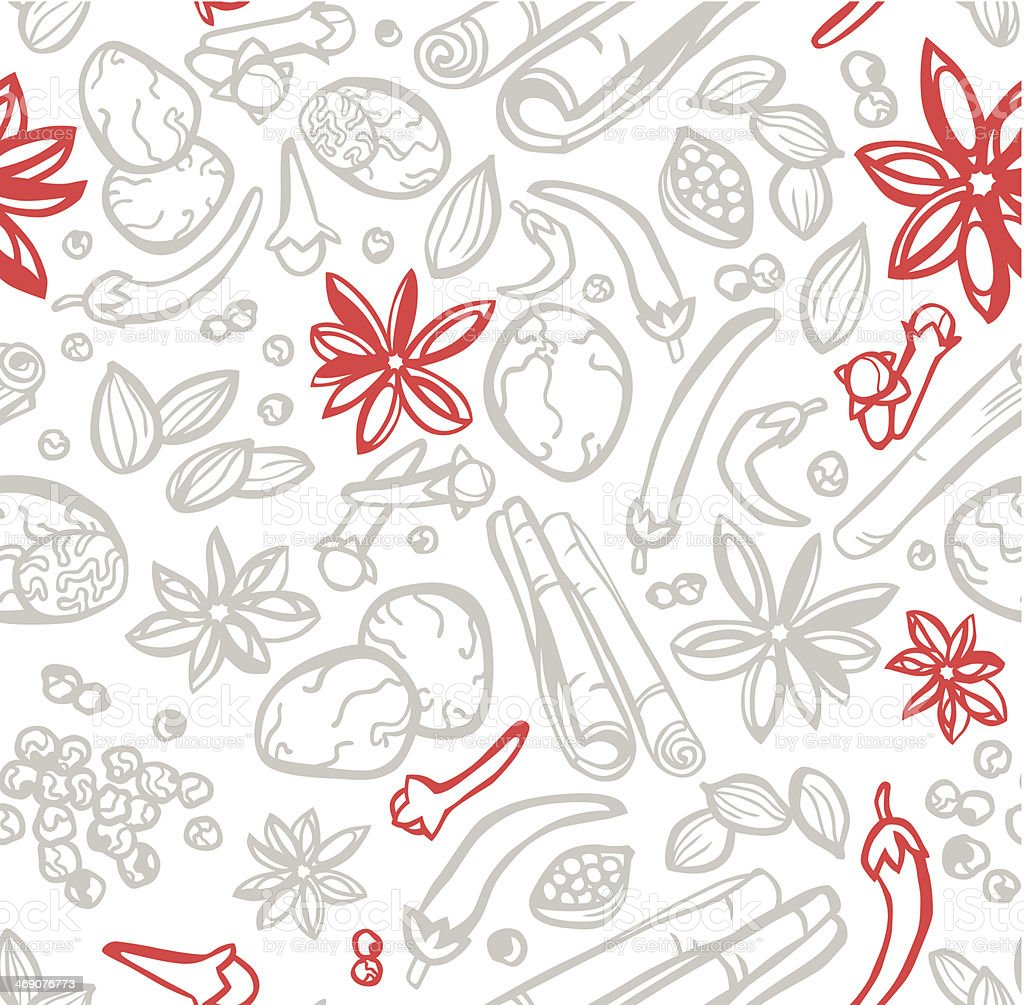 Great Spice Seamless Background vector art illustration