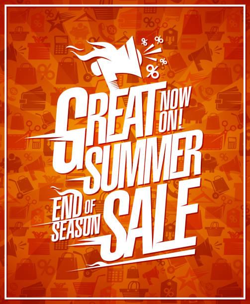 große sommer-verkauf banner, ende der saison rabatte plakat - standlautsprecher stock-grafiken, -clipart, -cartoons und -symbole