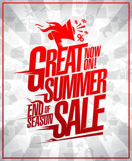 schönen sommer verkauf ende saison rabatte vektor-plakat - standlautsprecher stock-grafiken, -clipart, -cartoons und -symbole