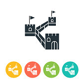 Great Wall flat icon - color illustration