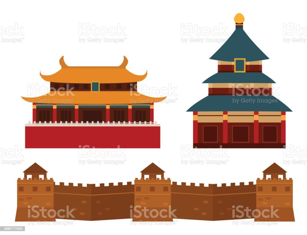 Great wall of China beijing asia landmark brick architecture culture history vector illustration vector art illustration