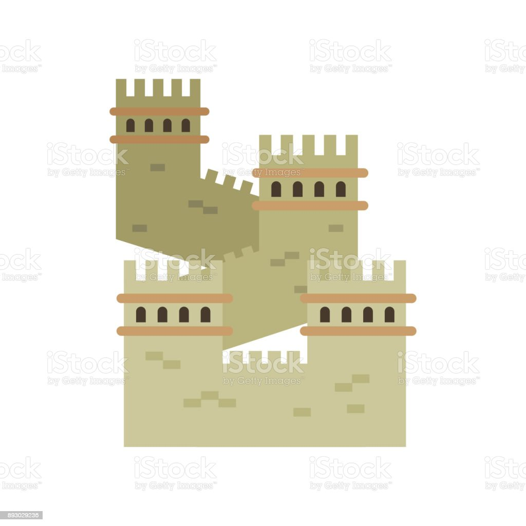 Great Wall Of China Colored Landmark Icon In Flat Style Ancient ...