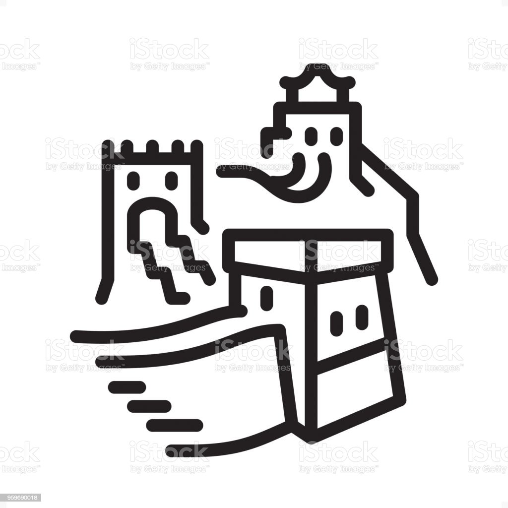 Great Wall Of China Outline Icon Pixel Perfect Stock Vector Art