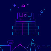 Great Wall of China Vector Line Icon, Illustration on a Dark Blue Background. Related Bottom Border