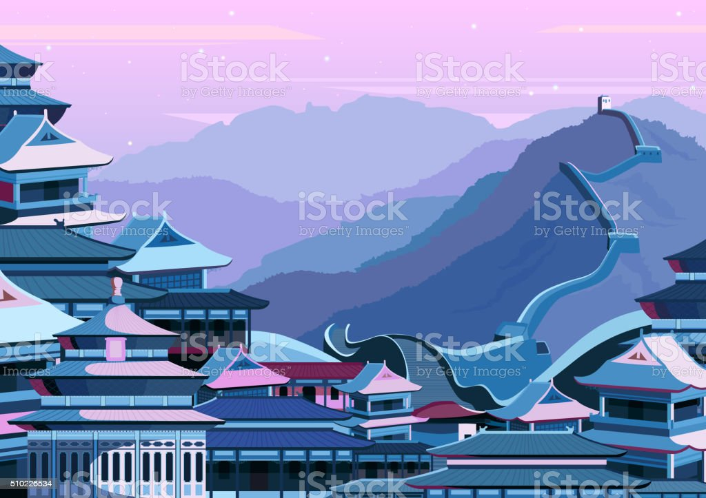 Great wall of China with buildings vector art illustration