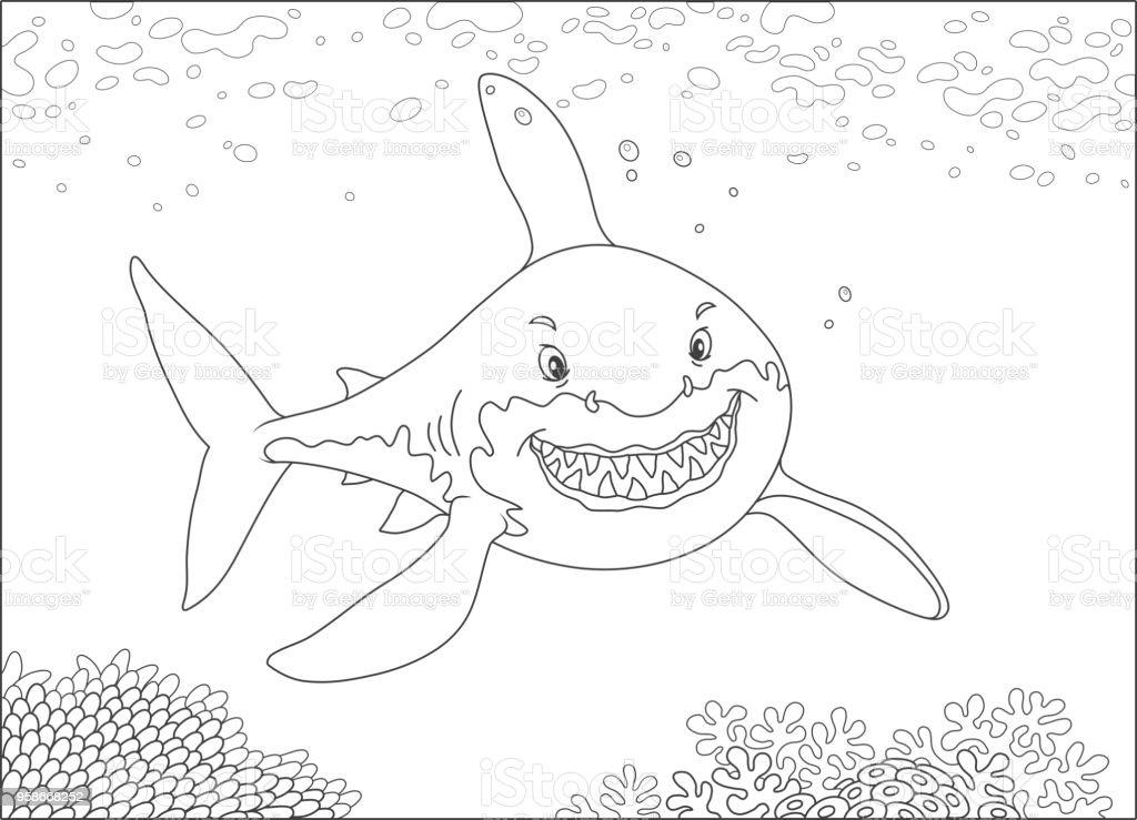 Ilustración de Gran Tiburón Blanco Sobre Un Arrecife y más banco de ...