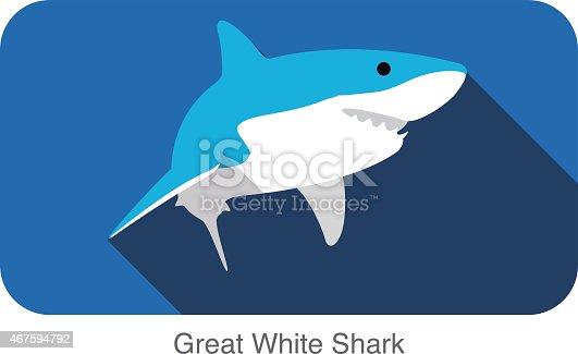 istock Great white shark swimming flat icon design 467594792