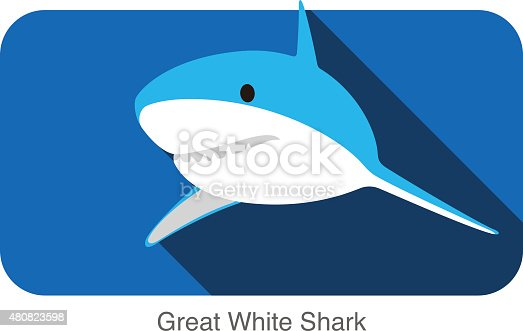 istock Great white shark swimming flat icon design 480823598