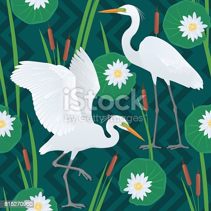Color vector seamless pattern with detailed drawing of two Great Egrets, isolated on background of geometric ornaments, canes and flowers and leaves of a water lily.