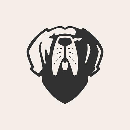 greatdane dog hipster vintage vector icon illustration