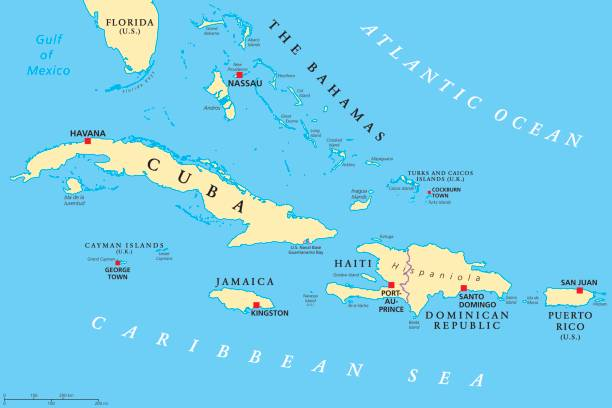 Greater Antilles political map Greater Antilles political map. Caribbean islands. Cuba, Jamaica, Haiti, Dominican Republic, Puerto Rico, Cayman Islands, The Bahamas, Turks And Caicos Islands. Illustration. English labeling. Vector. haiti stock illustrations