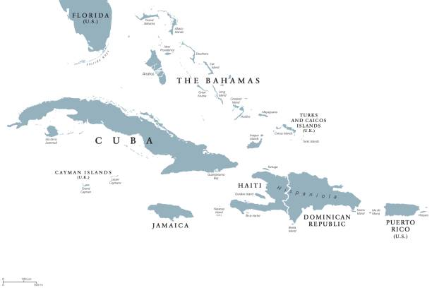 Greater Antilles political map Greater Antilles political map with English labeling. Grouping of the larger islands in the Caribbean Sea with Cuba, Hispaniola, Puerto Rico, Jamaica and the Cayman Islands. Gray illustration. Vector. haiti stock illustrations