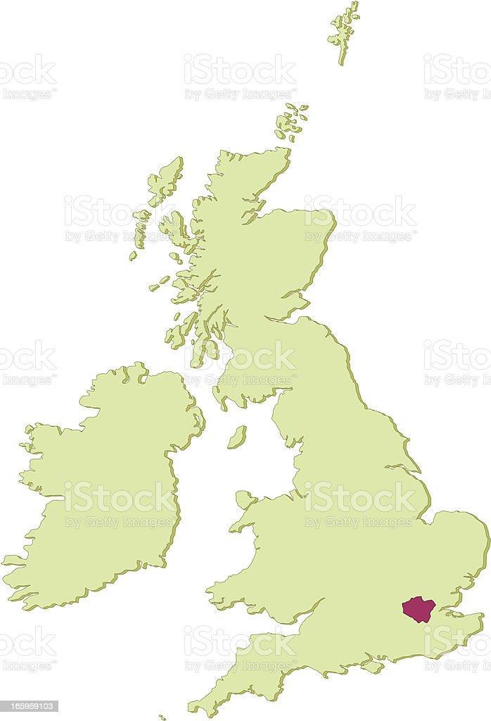 UK Greater London map vector art illustration