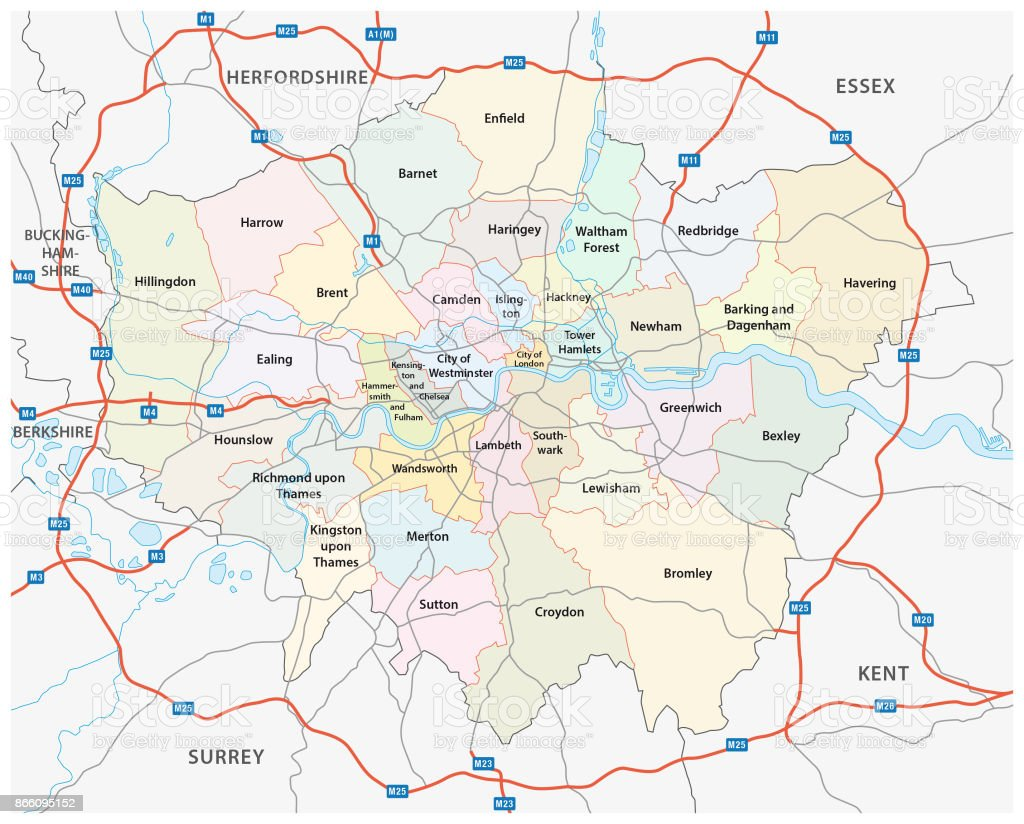 Greater london road and administrative map vector art illustration