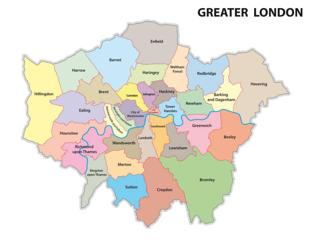 ilustrações de stock, clip art, desenhos animados e ícones de greater london road and administrative map - londres