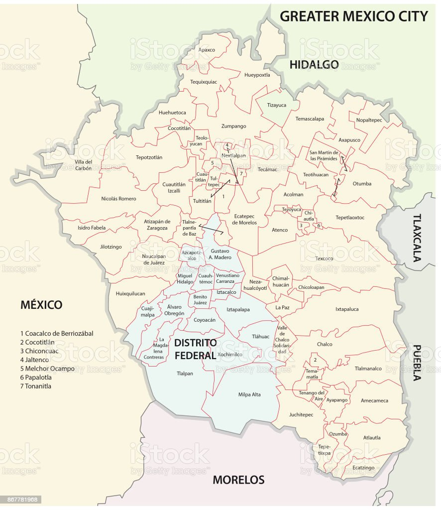 Greater Mexico City Administrative And Political Map Stock Vector - Political map of mexico