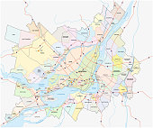greater montreal administrative and political map