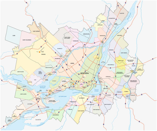 greater montreal administrative and political map greater montreal administrative and political vector map quebec stock illustrations