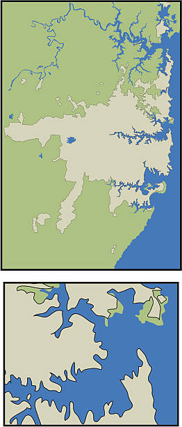 Greater Sydney Australia Greater Sydney (tan) is its own layer, and the full surrounding Australian coastline (including Sydney) is on a separate layer (green). This is a continuous line hand-drawn detailed map. There is no autotrace or slicing. lakeshore stock illustrations