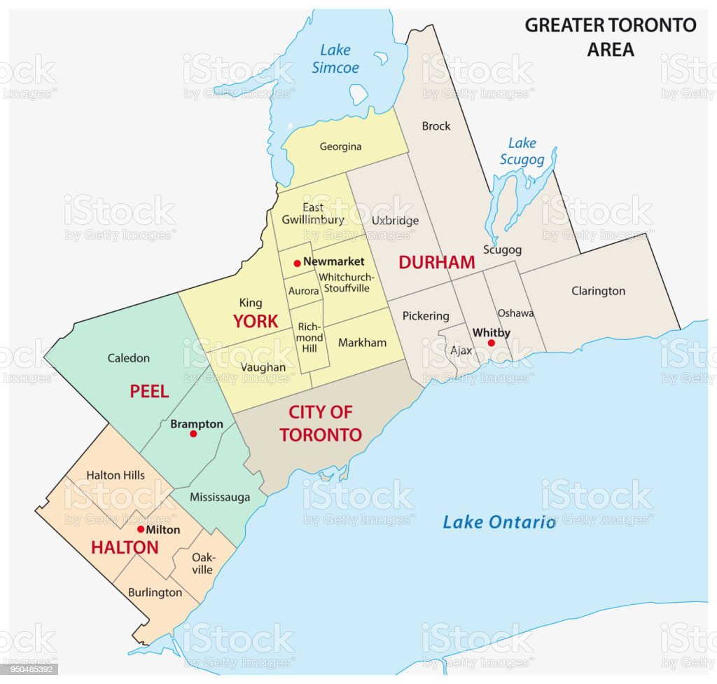 Political Map Of Ontario Canada.Greater Toronto Area Administrative And Political Map Stock