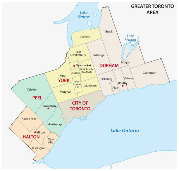 greater toronto area administrative and political map - toronto stock illustrations