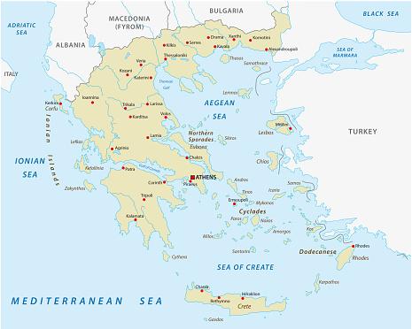 greece abstract vector map