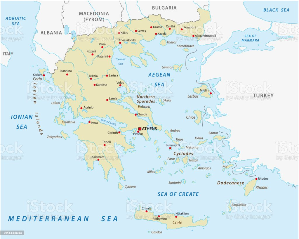 greece abstract vector map vector art illustration