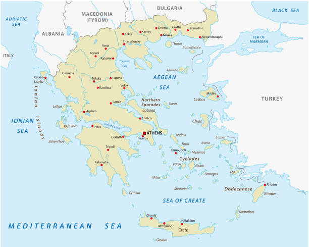 greece abstract vector map - macedonia country stock illustrations, clip art, cartoons, & icons