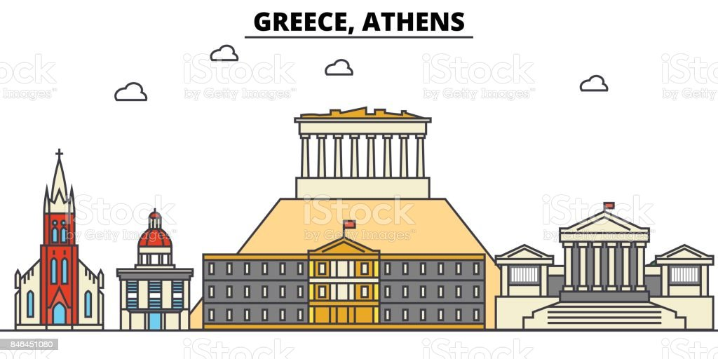 Greece, Athens. City skyline architecture, buildings, streets, silhouette, landscape, panorama, landmarks. Editable strokes. Flat design line vector illustration concept. Isolated icons set vector art illustration
