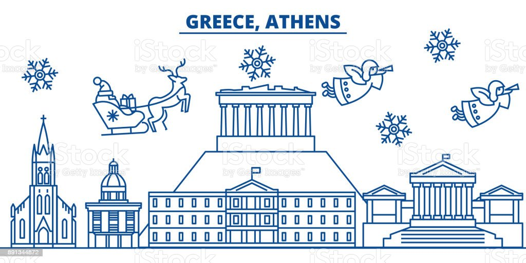Greece, Athens winter city skyline. Merry Christmas, Happy New Year decorated banner with Santa Claus.Winter greeting line card.Flat, outline vector.Linear christmas snow illustration vector art illustration