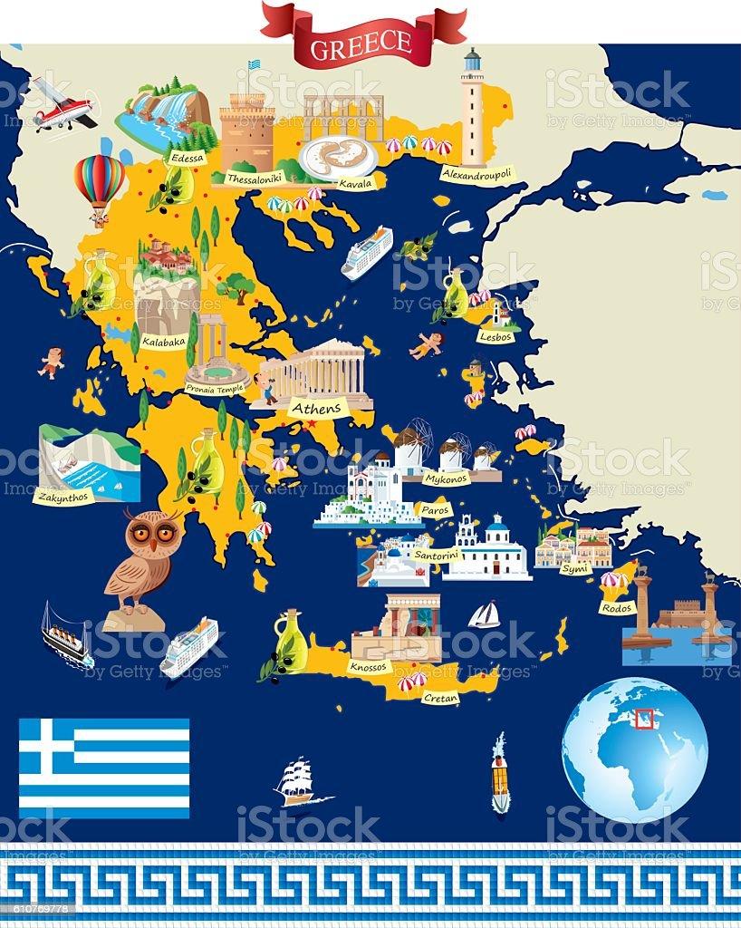 Greece Cartoon map vector art illustration