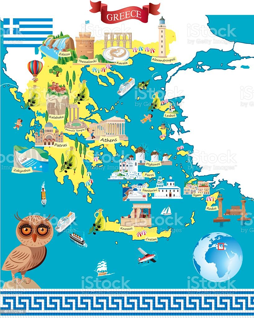 Greece Cartoon Map Stock Vector Art More Images Of Aegean Sea