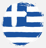 Greece Circle Flag Vector Hand Painted with Rounded Brush