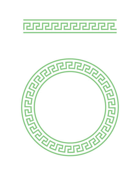 Greece circle ornament and greek brush with meander Greece circle ornament and greek brush with meander. classical greek stock illustrations