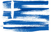 Greece colorful brush strokes painted flag