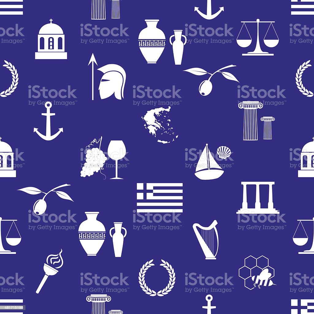 greece country theme symbols and icons seamless pattern eps10 vector art illustration
