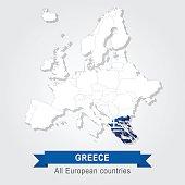 Greece. Europe administrative map.