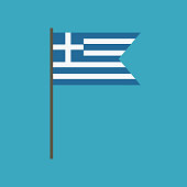 Greece flag icon in flat design