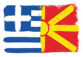 Greece Flag & Macedonia Flag Vector Hand Painted with Rounded Brush