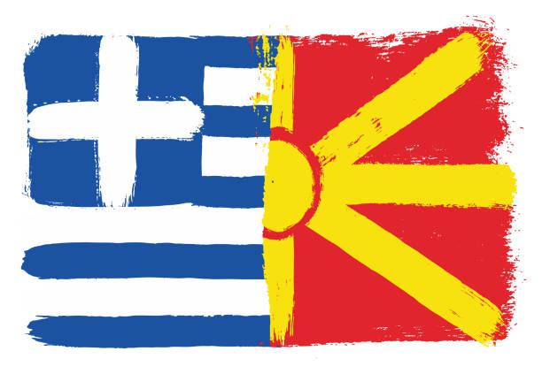 greece flag & macedonia flag vector hand painted with rounded brush - macedonia country stock illustrations, clip art, cartoons, & icons