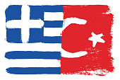 Greece Flag & Turkey Flag Vector Hand Painted with Rounded Brush
