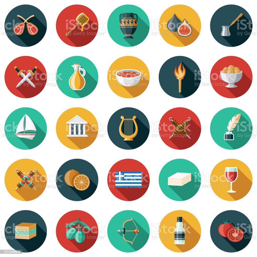 Greece Flat Design Icon Set vector art illustration