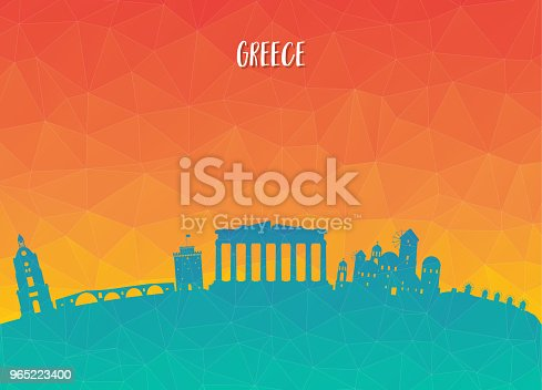 Greece Landmark Global Travel And Journey Paper Background Vector Design Templateused For Your Advertisement Book Banner Template Travel Business Or Presentation Stock Vector Art & More Images of Ancient 965223400