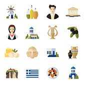 Greece Landmarks and cultural features flat icons design set.