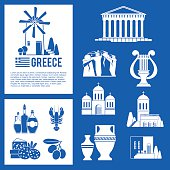 Greece Landmarks and cultural features icons design set.